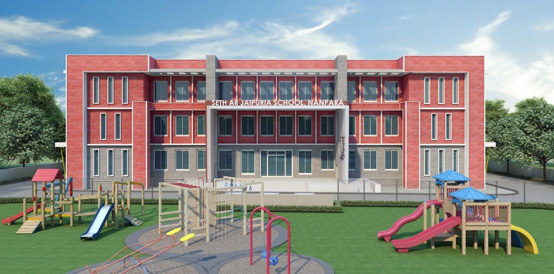 """A R Jaipuria School<br><span class=""""yellow"""">Nanpara, Uttar Pradesh</span>"""